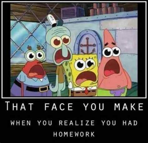 Spongebob Homework Meme - i left my homework in my locker agh and its due