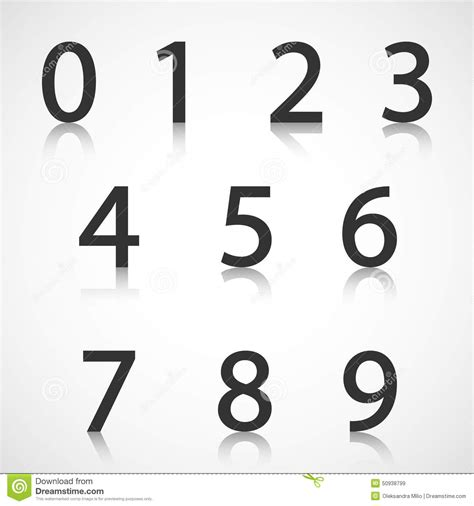 eps number format paper numbers with reflection stock vector image 50938799
