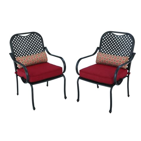 Patio Dining Chairs With Cushions Hton Bay Fall River Patio Dining Chair With Chili Cushion 2 Pack Dy11034 D R The Home Depot