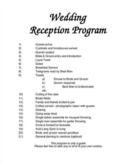 6 Wedding Programs Free Sle Exle Format Download Sle Templates Wedding Reception Program Template 2