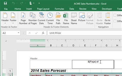 header design tools how to insert page x of y into a header or footer in excel