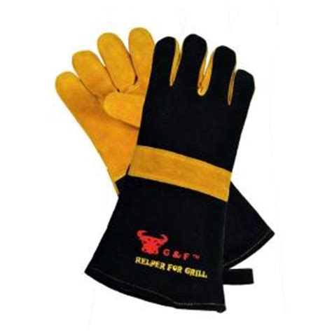 g f cowhide suede leather bbq and fireplace gloves with