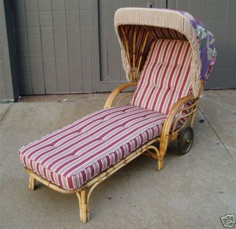 antique wicker chaise lounge vintage rattan chaise lounge with sunshade at 1stdibs