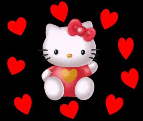 imagenes de kitty movibles hello kitty con corazones rojos