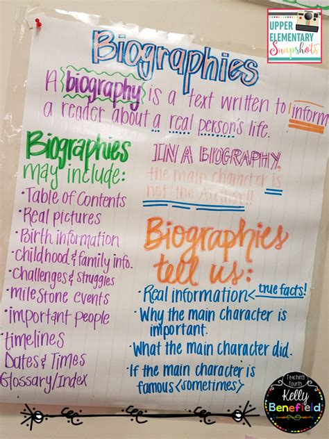 characteristics of biography and autobiography upper elementary snapshots teaching biographies