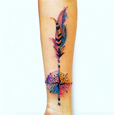 coloured compass tattoo 42 friggin amazing compass tattoos tattooblend
