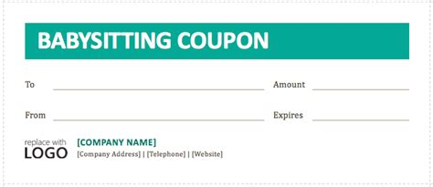 coupon cards template word babysitting coupon template