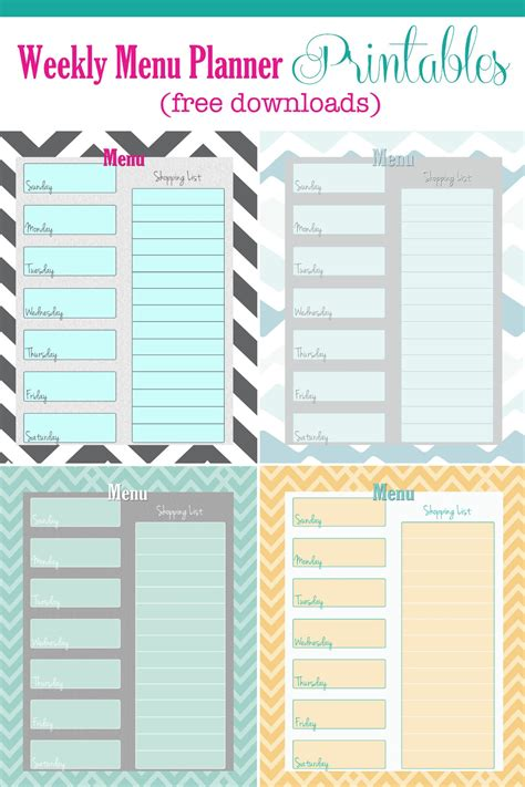 weekly menu planner printable free free weekly menu planner printable 4 colors cupcake