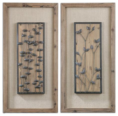 rustic wall art chinook wall art panel set bronze rustic wood and burlap