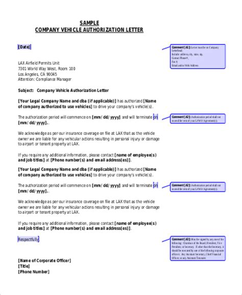 authorization letter to use company vehicle authorization letter sles