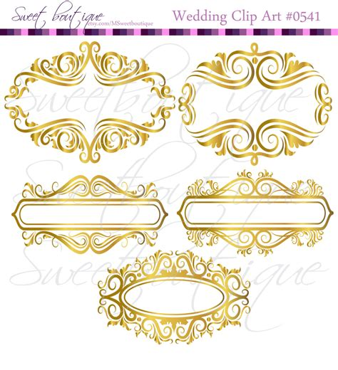 gold wedding clipart gold floral frame ornaments decoration graphics border vintage