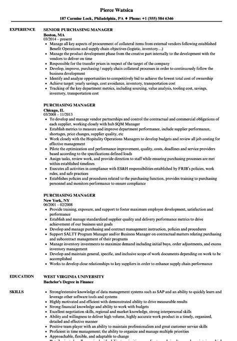 Purchasing Manager Resume by Purchasing Manager Resume Sles Velvet
