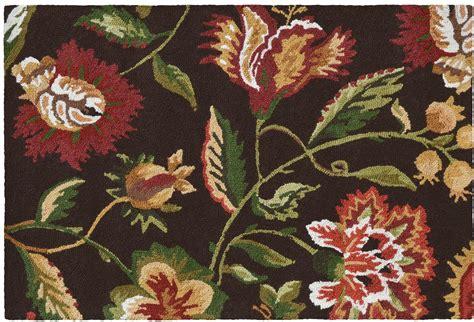 jacobean floral rug rug jacobean floral flowers 36x24 brown brown beige wool new hoo ebay