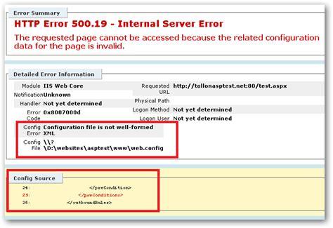 internal server error iis 7 http error 500 19 internal server error in windows 7 iis server fault