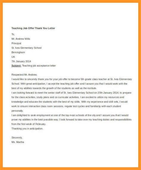 acceptance letter for a teaching new acceptance thank you letter bio letter format