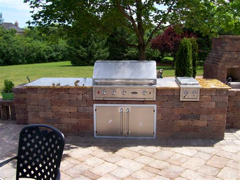 built in grill with granite top