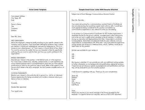 how to write a email cover letter sle email with cover letter and resume attached