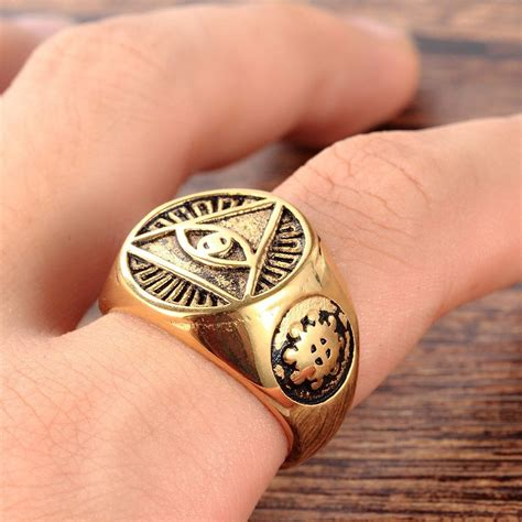 illuminati ring mendino s stainless steel the all seeing eye pyramid