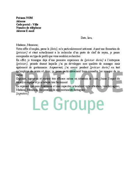 lettre de motivation pour chef de rayon pratique fr