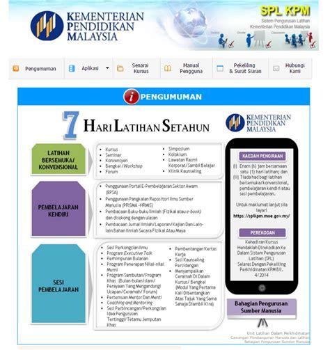 sistem e operasi kementerian pelajaran malaysia cikgu hijau spl kpm sistem pengurusan latihan