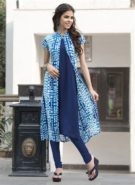 jacket pattern kurti images buy blue rayon cotton jacket style kurti knee length