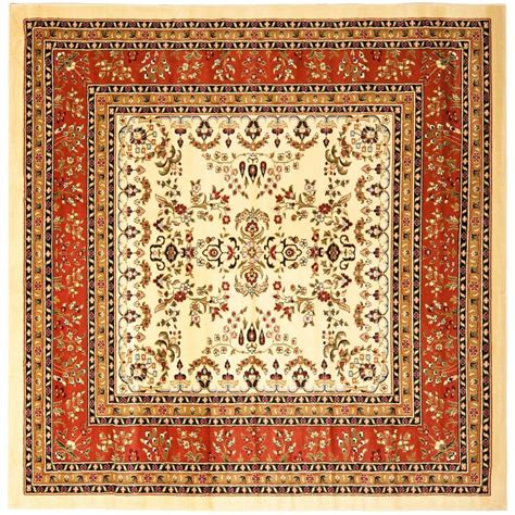 8 x 8 area rugs safavieh lyndhurst ivory rust 8 ft x 8 ft square area rug lnh331r 8sq the home depot