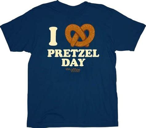 Pretzel Day The Office by The Office I Pretzel Day Navy T Shirt The