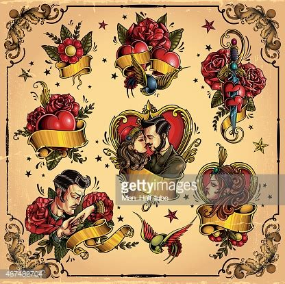 tattoo couple old school oldschool love tattoo vector art getty images