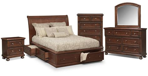 storage bedroom furniture hanover 7 piece queen storage bedroom set cherry
