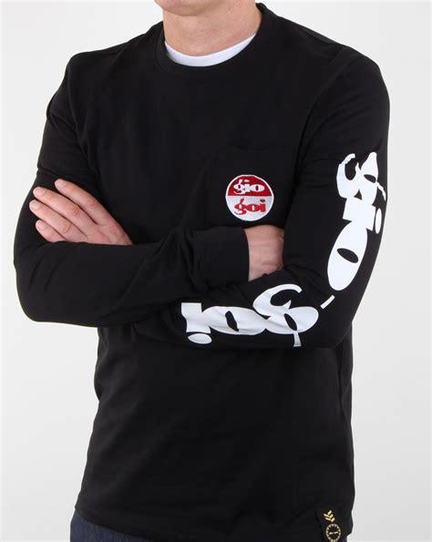 Print Sleeve T Shirt gio goi sleeve print ls t shirt black mens cotton crew