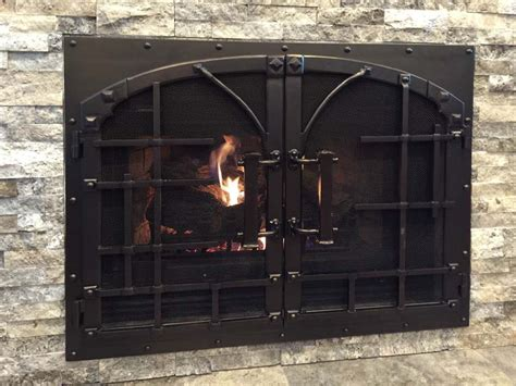 hand forged iron fireplace doors fd007 from mantel depot