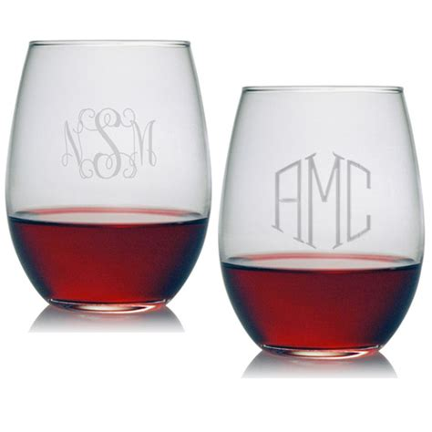 Monogrammed Barware susquehanna stemless wine glass set of 4 monogrammed