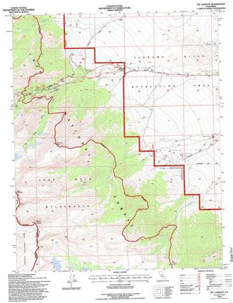 topographical map of southern california mount langley topographic map ca usgs topo 36118e2