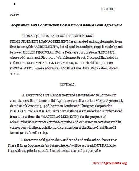 reimbursement agreement template acquisition and construction cost reimbursement loan