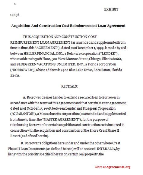 reimbursement agreement template acquisition and construction cost reimbursement loan