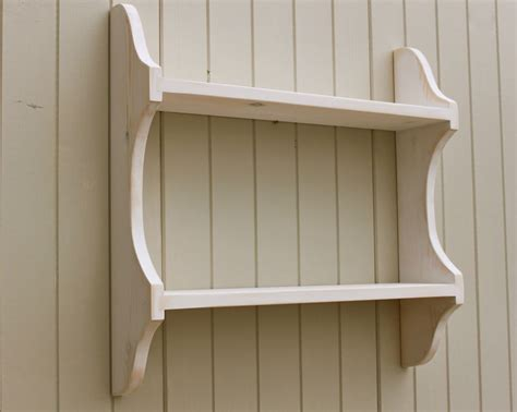 2 shelf shabby chic wall rack bookshelf in distresed white