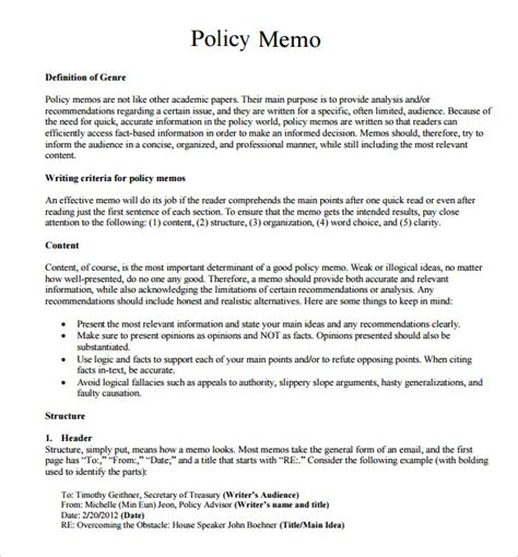 Memo Writing Guide Policy Memo Templates 7 Sles Exles Format