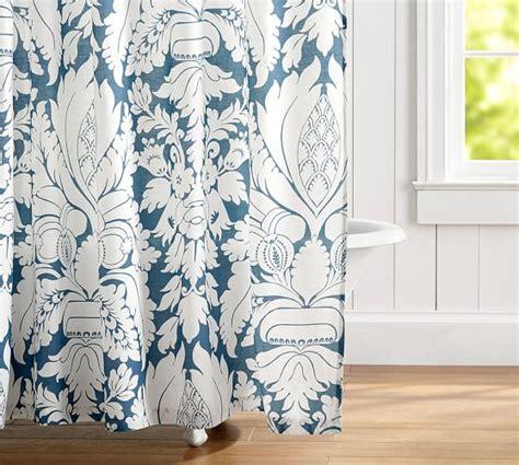 damask shower curtain damask linen shower curtain pottery barn