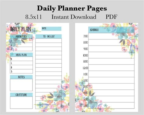 daily to do printable pdf planner page instant download daily planner pages instant download printable planner pages