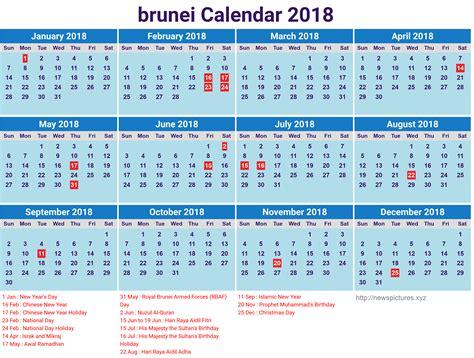 printable brunei 2018 calendar with holidays list 2018