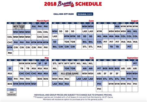 printable daily mlb schedule the complete 2018 atlanta braves schedule atlanta sports