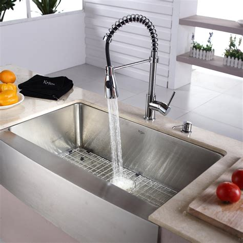 Stainless Faucets Kitchen kraus khf20033kpf1612ksd30ch 33 quot farmhouse single bowl