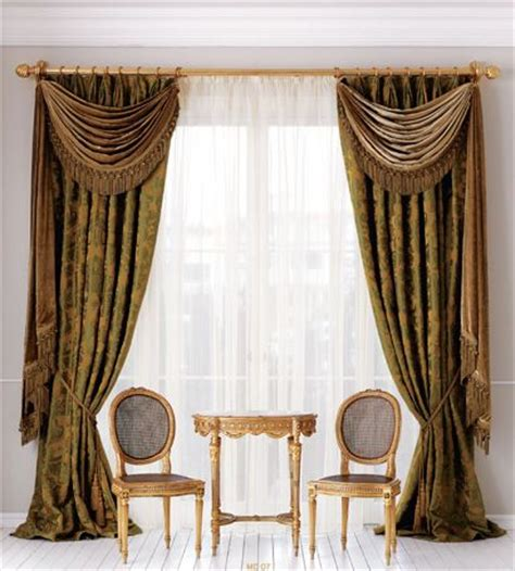 side drapes side panels with swags and under sheers curtains