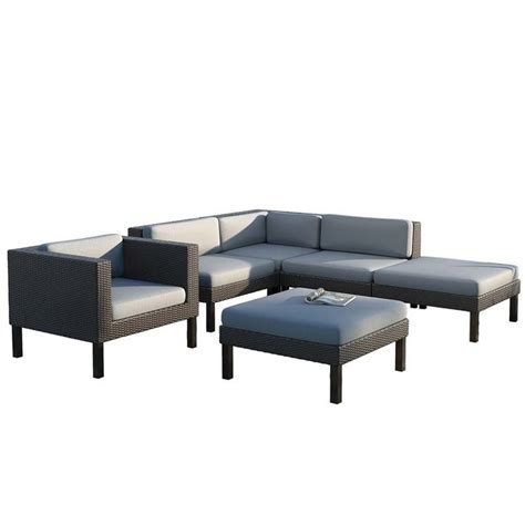 6 Pc Patio Set by 6 Pc Sectional Chaise Lounge Chair Patio Set Ppo 803 Z