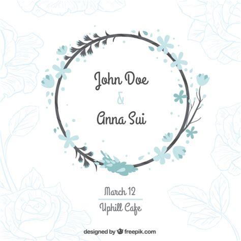 Wedding Card Vector Ai by Wedding Card With A Floral Wreath Vector Free