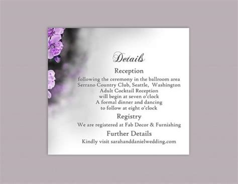 Wedding Enclosure Cards Free Template by Diy Wedding Details Card Template Editable Word File