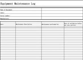 maintenance log template maintenance log template free premium