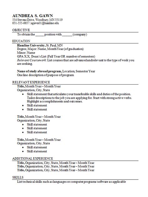 Class Cover Letter Resumes And Cover Letters Career Development Center Hamline
