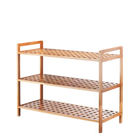 3 Shelf Shoe Rack by Vonhaus Bamboo Shoe Rack Storage Shelf Organiser Holder 3 Tier Ebay