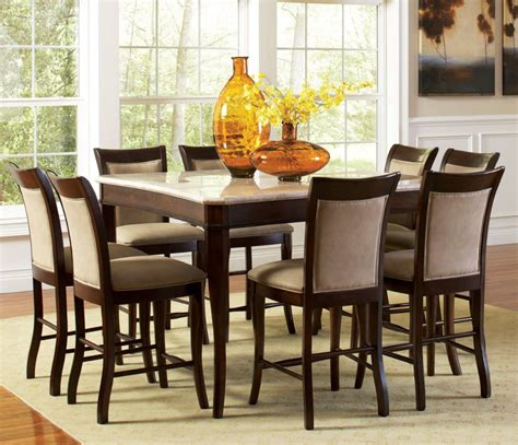 dining room sets with glass or marble top table counter